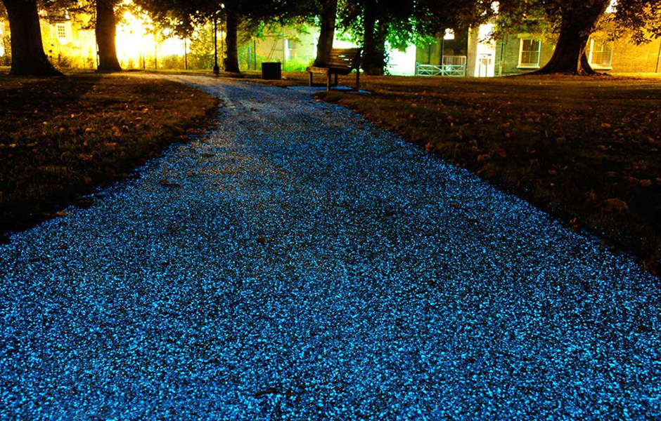 Ambient-Glow-Technology-UV-powered-surface-lights-pathways-at-night